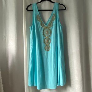 Lilly Pulitzer Dress - Teal with Gold Beading